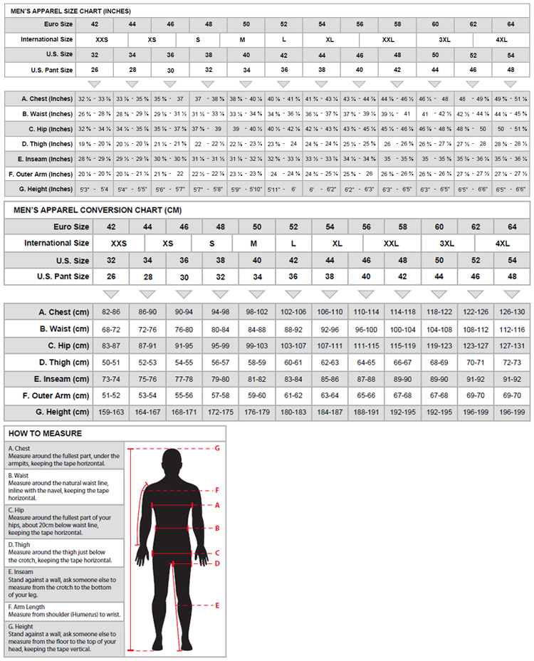 11053df3d Track Cycling Clothing Size Guide for Alpinestars Clothing Click Image to  Enlarge